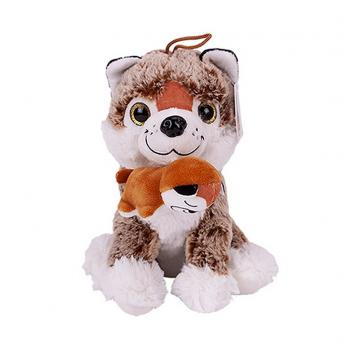 Pluche Knuffel Hond met Pup 24 cm Assorti